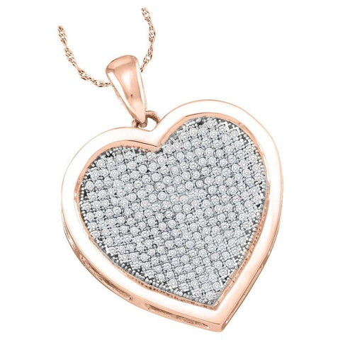 10kt Rose Gold Womens Round Diamond Heart Love Pendant 1/2 Cttw