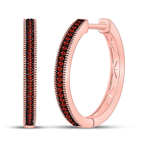 10kt Rose Gold Womens Round Red Color Enhanced Diamond Single Row Hoop Earrings 1/6 Cttw