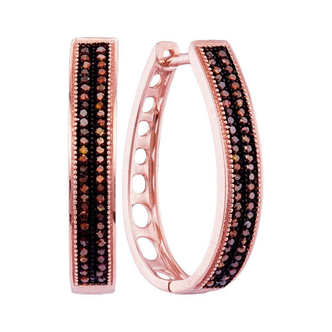 10kt Rose Gold Womens Round Diamond Double Row Oblong Hoop Earrings 1/3 Cttw