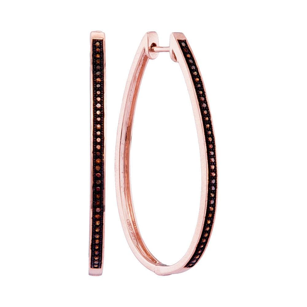 10kt Rose Gold Womens Round Diamond Oblong Single Row Hoop Earrings 1/6 Cttw