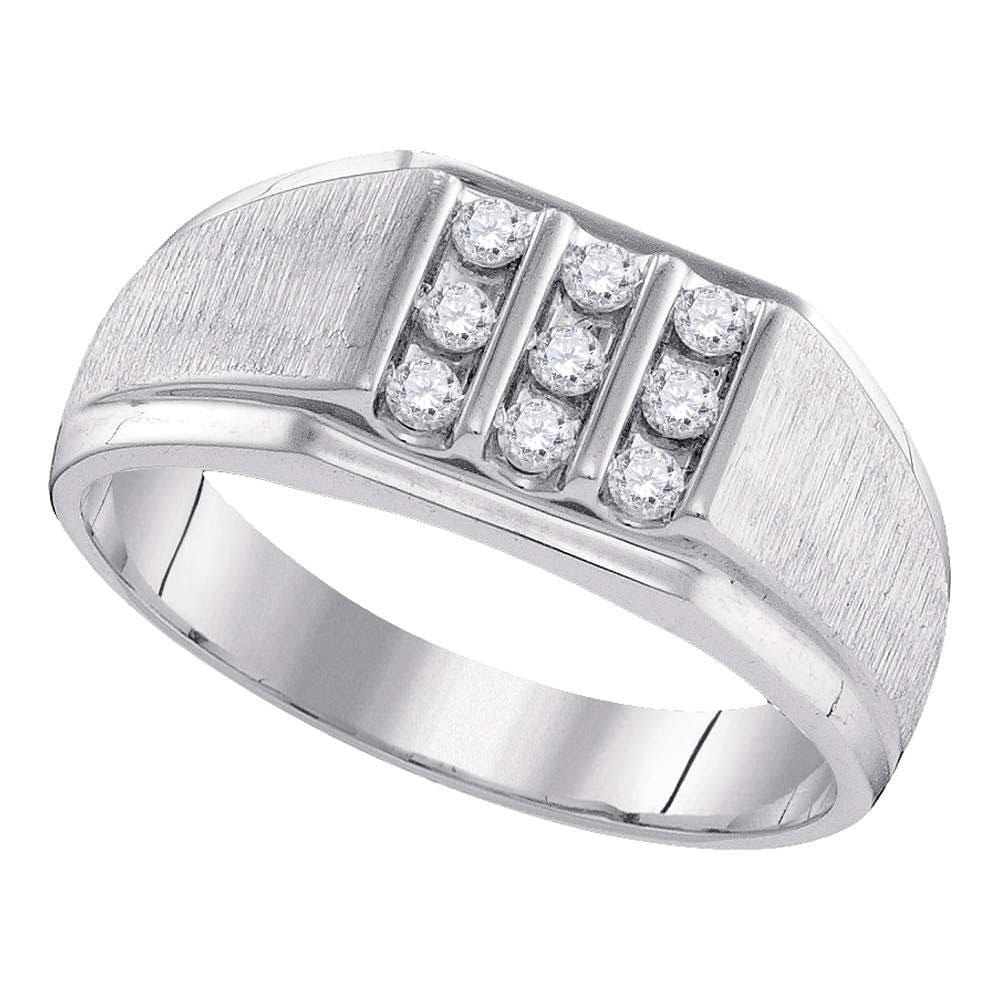 10kt White Gold Mens Round Diamond Square Cluster Ring 1/4 Cttw
