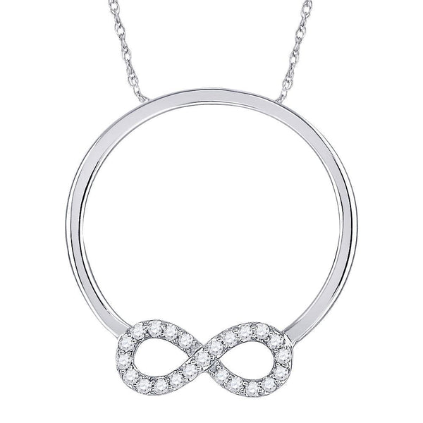 10kt White Gold Womens Round Diamond Circle Infinity Pendant 1/8 Cttw