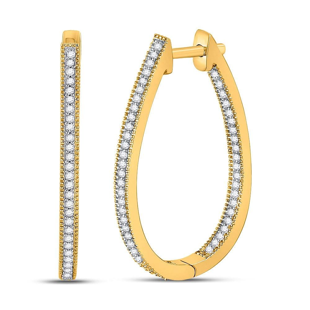 10kt Yellow Gold Womens Round Diamond Oblong Oval Hoop Earrings 1/3 Cttw