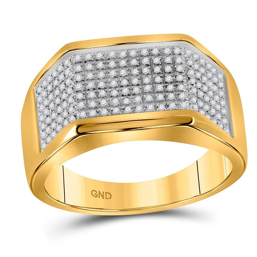 10kt Yellow Gold Mens Round Diamond Flat Top Band Ring 1/4 Cttw