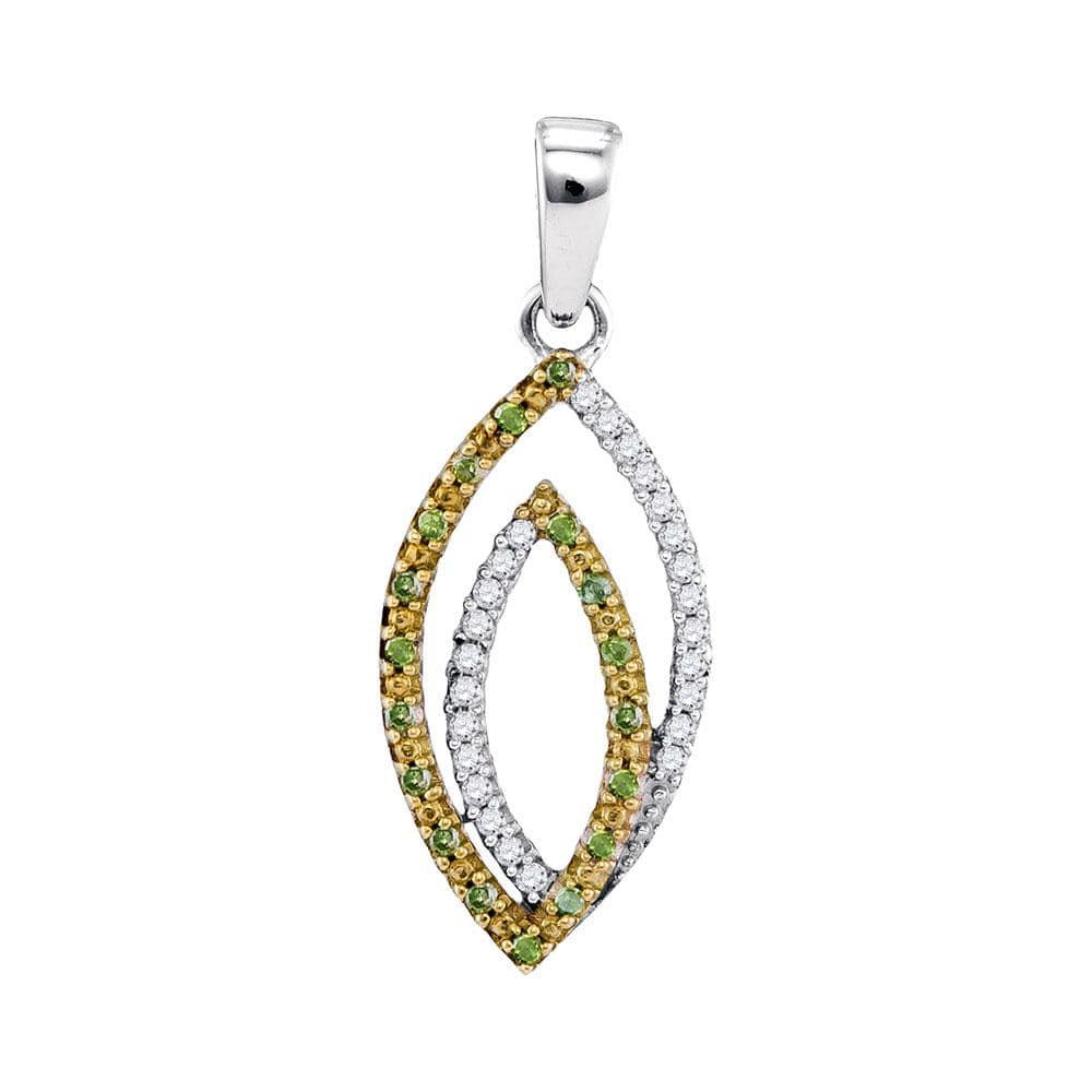 10kt White Gold Womens Round Green Color Enhanced Diamond Oval Pendant 1/8 Cttw