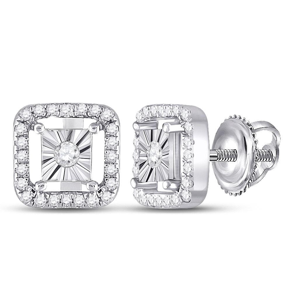 Sterling Silver Womens Round Diamond Miracle Square Earrings 1/4 Cttw