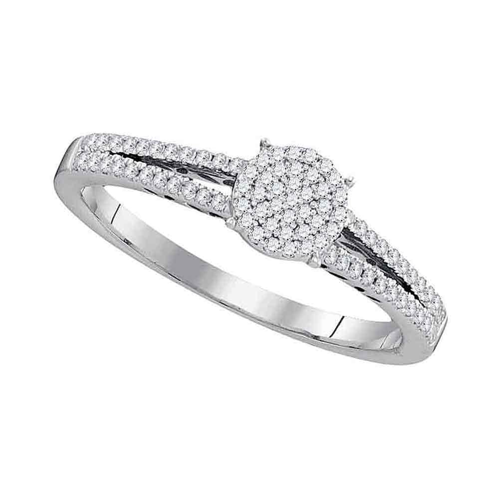 10kt White Gold Womens Round Diamond Split-shank Circle Cluster Ring 1/5 Cttw