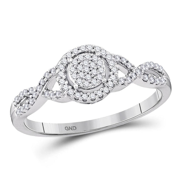 10kt White Gold Womens Round Diamond Cluster Twist Bridal Wedding Engagement Ring 1/5 Cttw