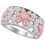 10kt Two-tone Gold Womens Round Diamond Flower Band Ring 1/5 Cttw