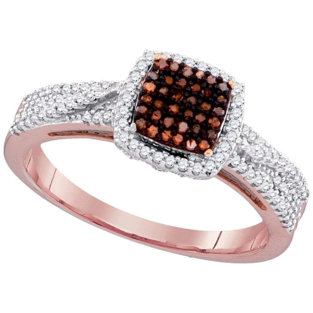 10kt Rose Gold Womens Round Red Color Enhanced Diamond Square Cluster Ring 1/3 Cttw