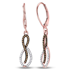 10kt Rose Gold Womens Round Red Color Enhanced Diamond Dangle Earrings 1/4 Cttw