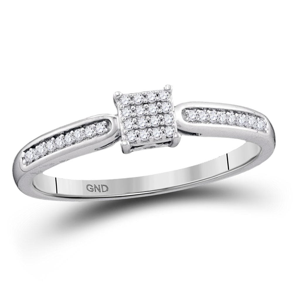 10kt White Gold Womens Round Diamond Square Cluster Bridal Wedding Engagement Ring 1/10 Cttw