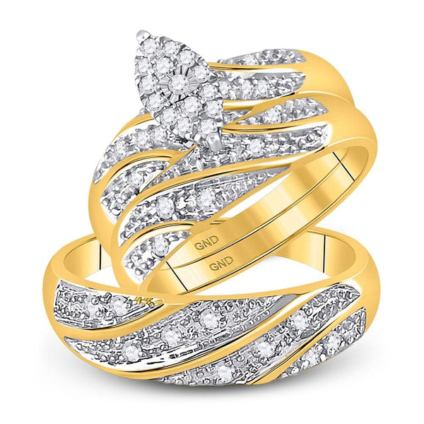 10kt Two-tone Gold His & Hers Round Diamond Cluster Matching Bridal Wedding Ring Band Set 1/3 Cttw