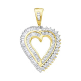 10kt Yellow Gold Womens Round Diamond Heart Love Pendant 7/8 Cttw