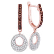 10kt Rose Gold Womens Round Red Color Enhanced Diamond Circle Dangle Hoop Earrings 3/8 Cttw