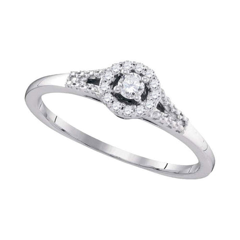 10kt White Gold Womens Round Diamond Solitaire Promise Bridal Ring 1/8 Cttw