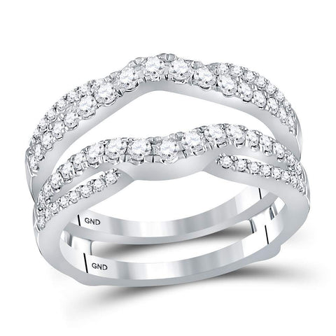 14kt White Gold Womens Round Diamond Ring Guard Wrap Ring Guard Enhancer 5/8 Cttw