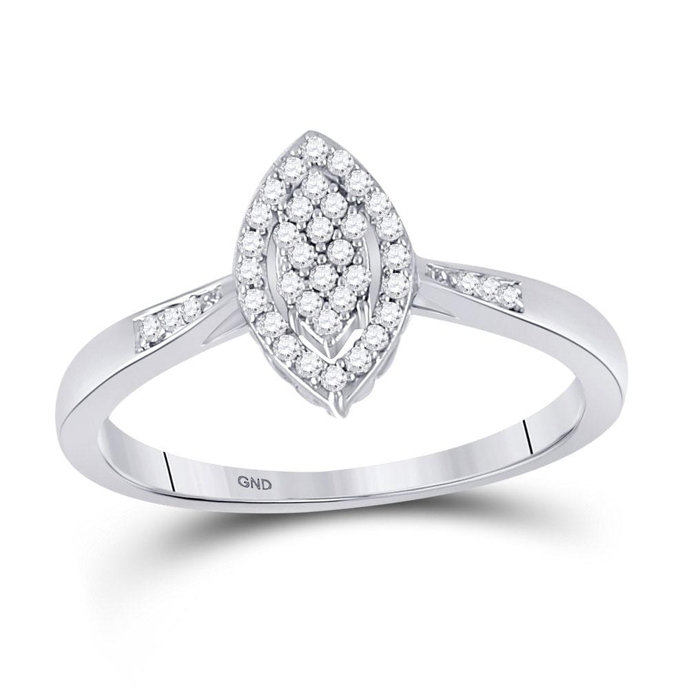 10kt White Gold Womens Round Diamond Oval Cluster Ring 1/8 Cttw