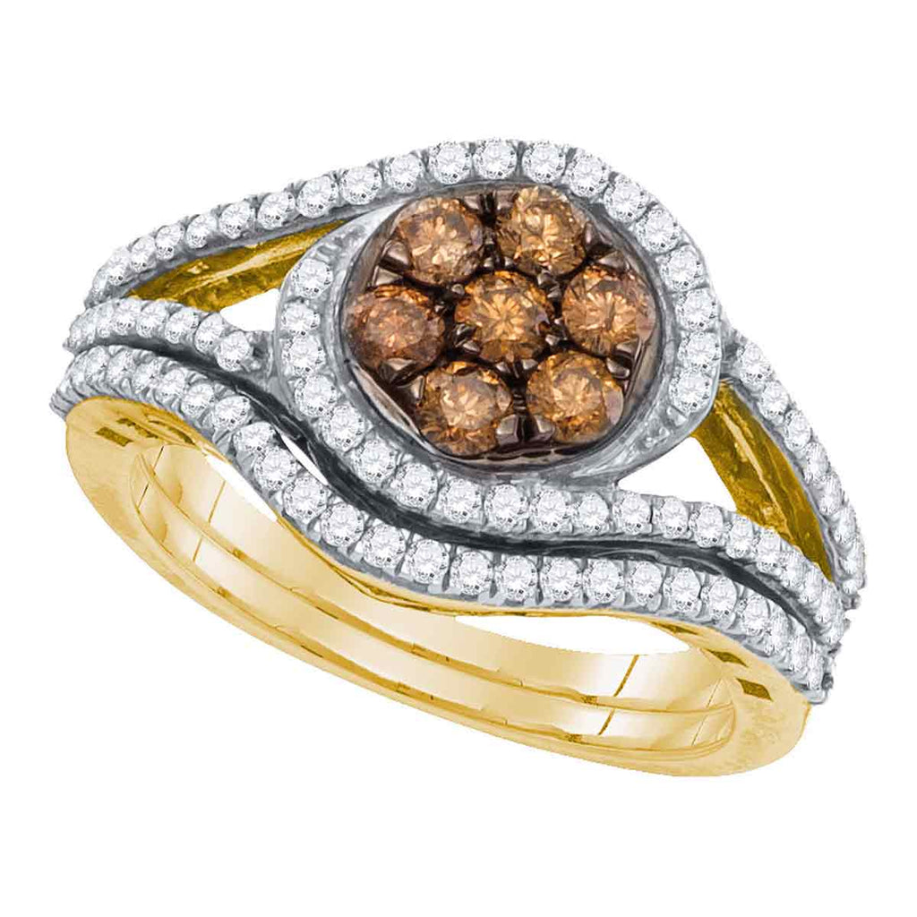 10kt Yellow Gold Womens Round Brown Color Enhanced Diamond Bridal Wedding Engagement Ring Band Set 1.00 Cttw