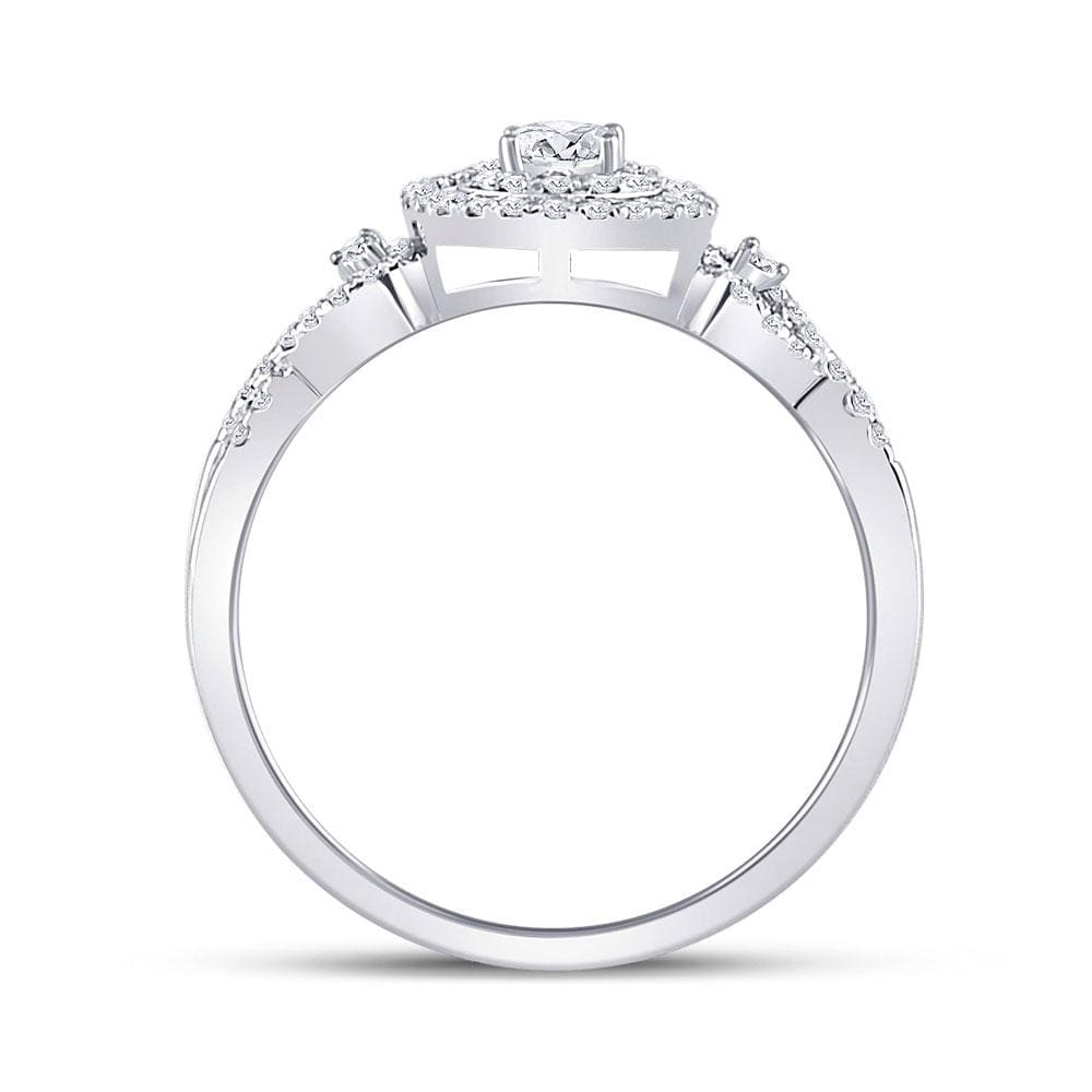 10kt White Gold Round Diamond Solitaire Bridal Wedding Engagement Ring 3/8 Cttw