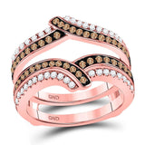 14kt Rose Gold Womens Round Brown Color Enhanced Diamond Solitaire Enhancer Wedding Band 5/8 Cttw