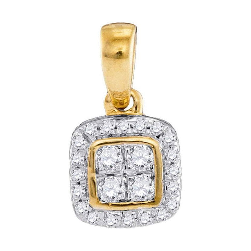 10kt Yellow Gold Womens Round Diamond Square Cluster Pendant 1/10 Cttw