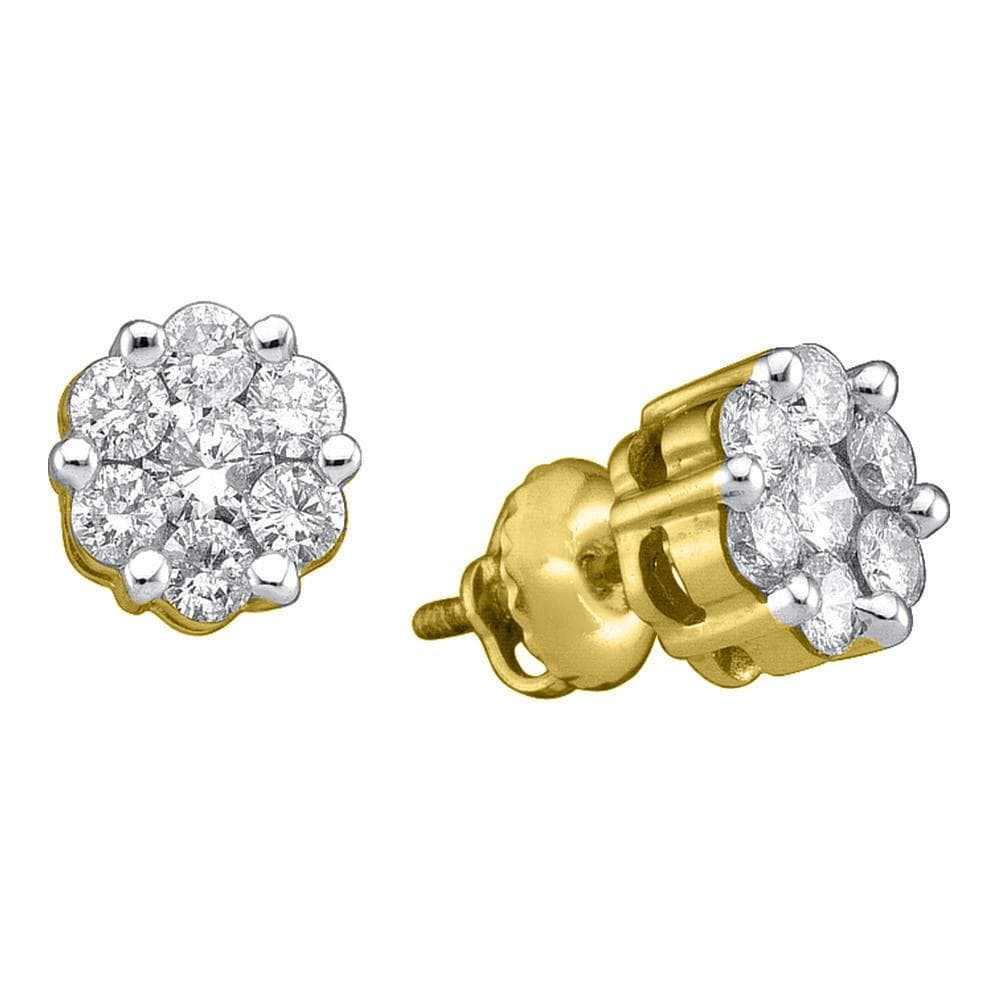14k Yellow Gold Round Diamond Flower Cluster Womens Screwback Stud Earrings 1/2 Cttw