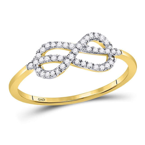 10kt Yellow Gold Womens Round Diamond Infinity Fashion Ring 1/6 Cttw