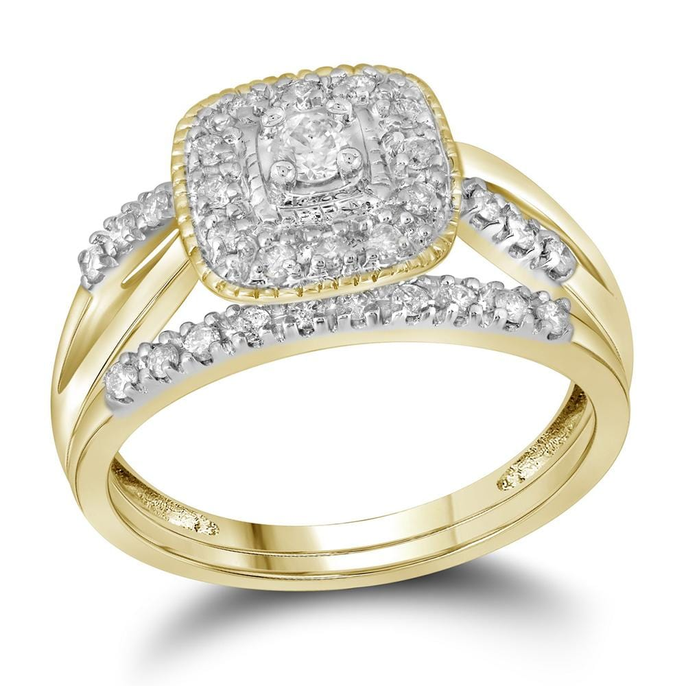 10kt Yellow Gold Womens Round Diamond Square Halo Bridal Wedding Engagement Ring Band Set 1/3 Cttw