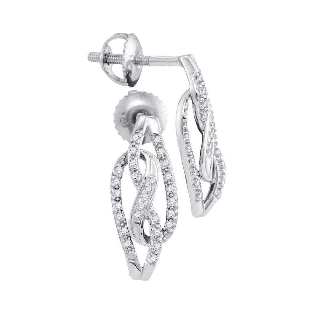 10kt White Gold Womens Round Diamond Infinity Screwback Stud Earrings 1/6 Cttw