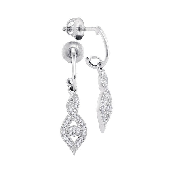 10kt White Gold Womens Round Diamond Oval Nested Cluster Dangle Earrings 1/6 Cttw