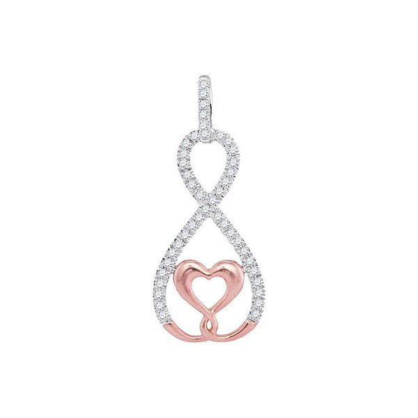 10kt Two-tone Gold Womens Round Diamond Heart Infinity Pendant 1/8 Cttw