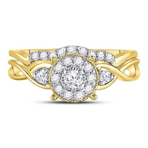 10kt Yellow Gold Womens Round Diamond Halo Twist Bridal Wedding Engagement Ring Band Set 1/3 Cttw