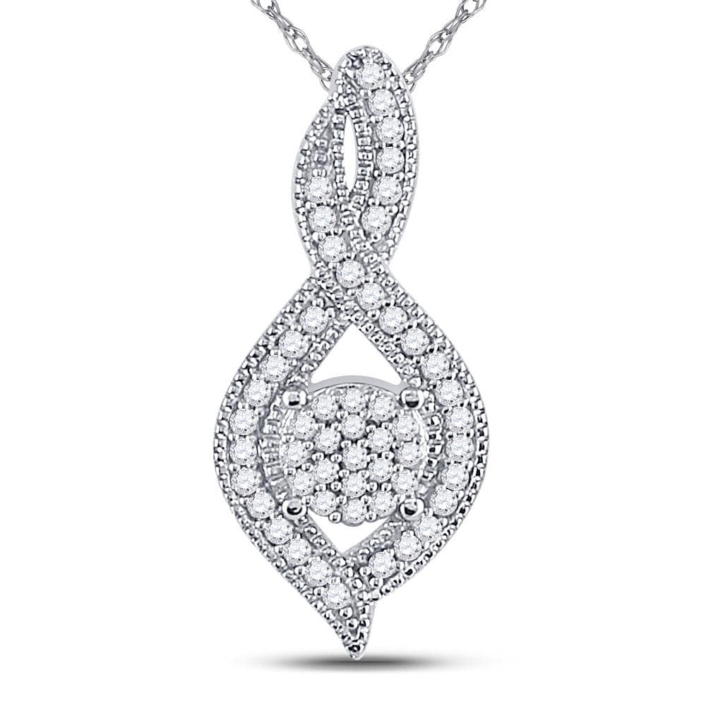 10kt White Gold Womens Round Diamond Nested Cluster Pendant 1/6 Cttw