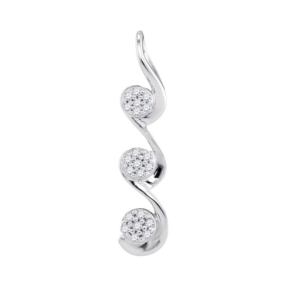 10kt White Gold Womens Round Diamond Triple Cascading Flower Cluster Pendant 1/20 Cttw