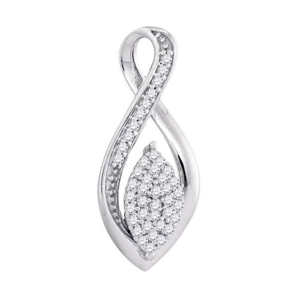 10kt White Gold Womens Round Diamond Oval Cluster Fashion Pendant 1/10 Cttw