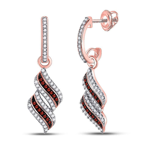 10kt Rose Gold Womens Round Red Color Enhanced Diamond Cascade Ribbon Dangle Earrings 1/3 Cttw