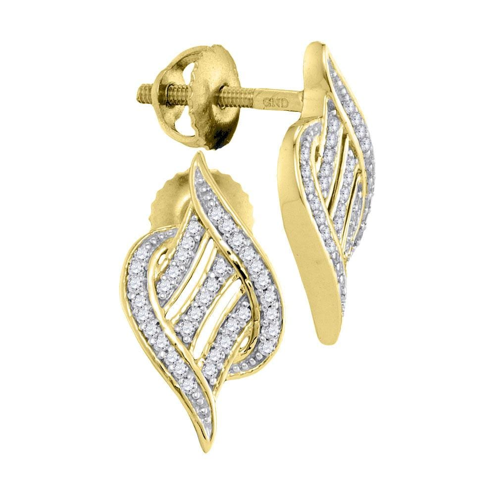 10kt Yellow Gold Womens Round Diamond Striped Cascading Stud Earrings 1/6 Cttw