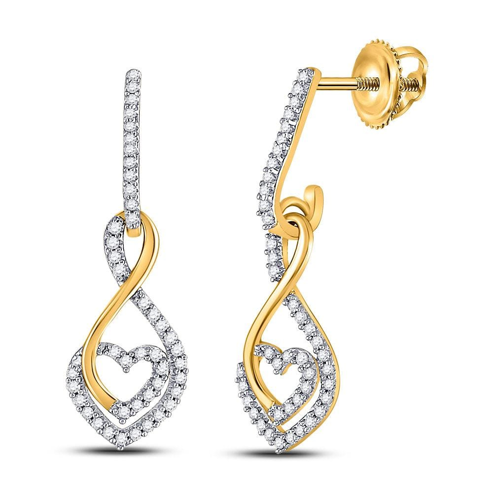 10kt Yellow Gold Womens Round Diamond Heart Dangle Earrings 1/4 Cttw
