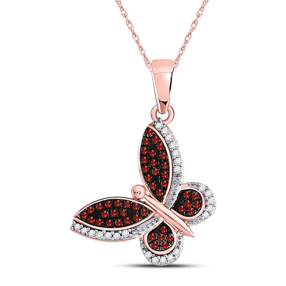10kt Rose Gold Womens Round Red Color Enhanced Diamond Butterfly Bug Pendant 1/5 Cttw