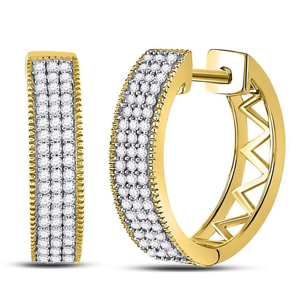 10kt Yellow Gold Womens Round Diamond Triple Row Pave Hoop Earrings 1/3 Cttw