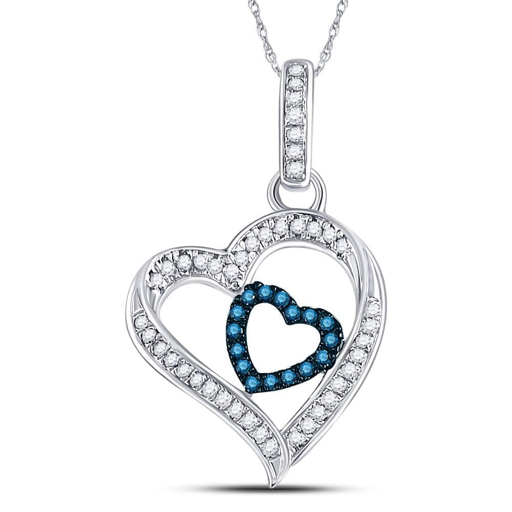 10kt White Gold Womens Round Blue Color Enhanced Diamond Nested Heart Pendant 1/6 Cttw