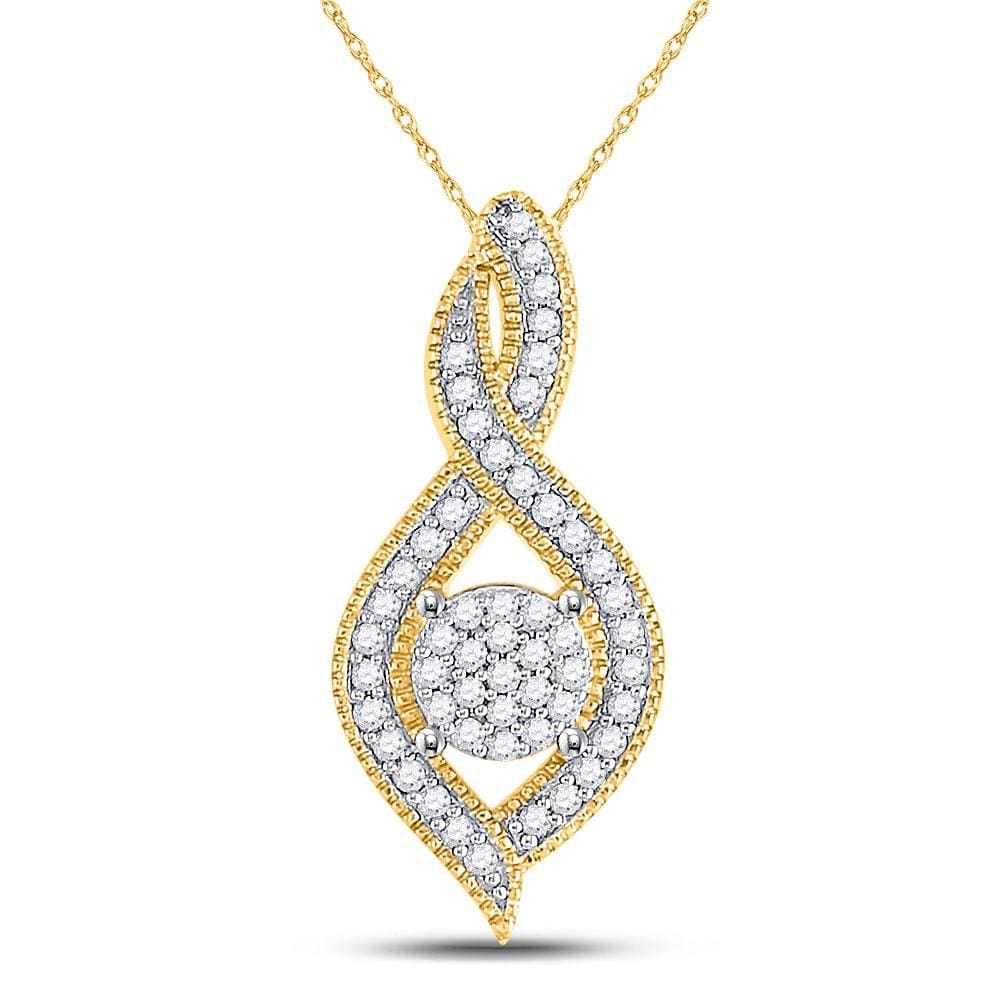 10kt Yellow Gold Womens Round Diamond Nested Cluster Pendant 1/6 Cttw