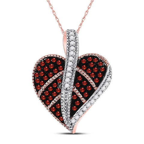 10kt Rose Gold Womens Round Red Color Enhanced Diamond Milgrain Heart Leaf Pendant 1/5 Cttw