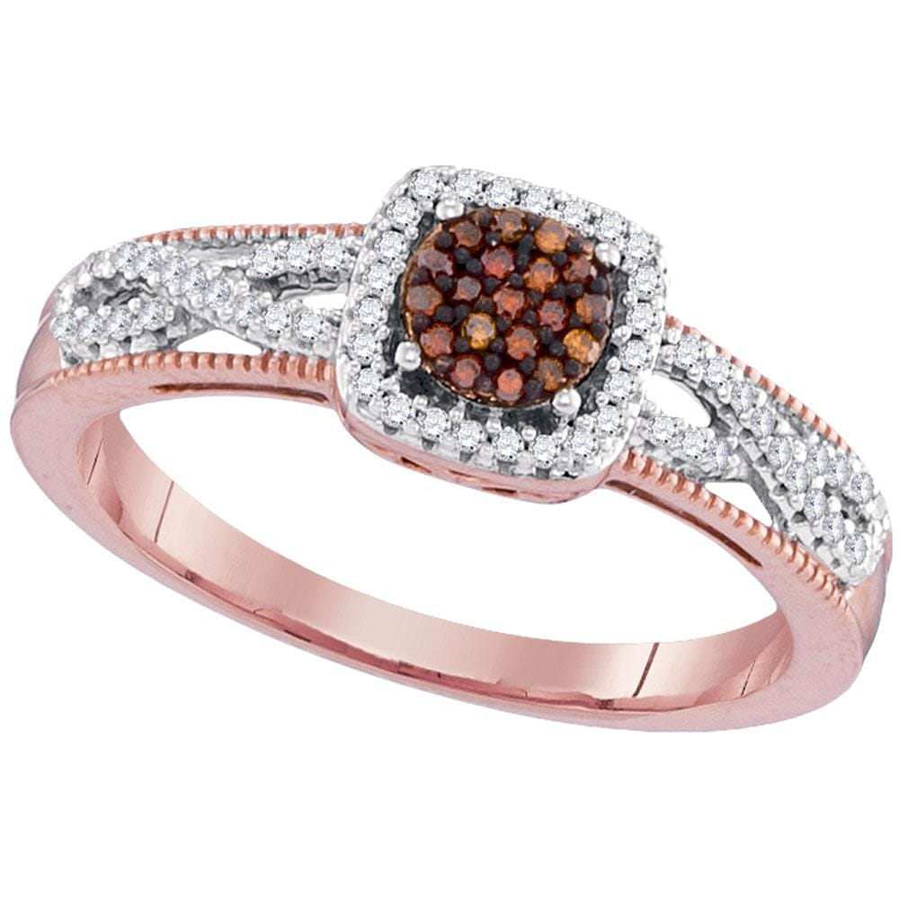 10kt Rose Gold Womens Round Red Color Enhanced Diamond Square Frame Cluster Twist Ring 1/5 Cttw