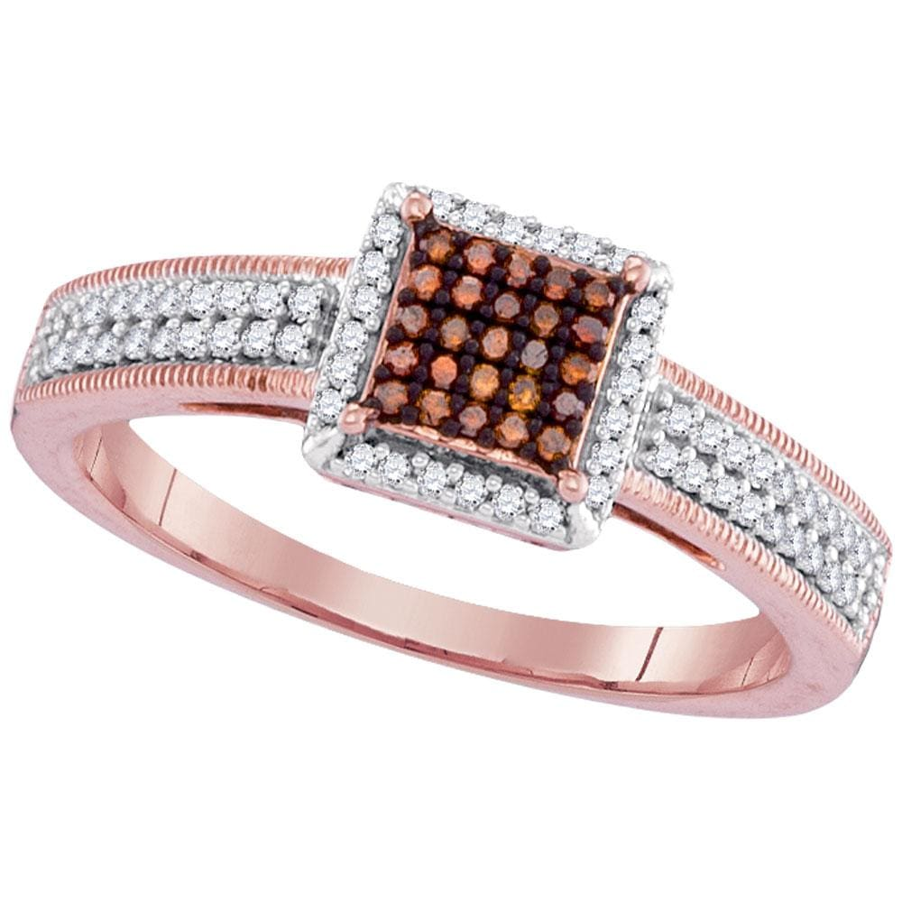 10kt Rose Gold Womens Round Red Color Enhanced Diamond Square Cluster Ring 1/4 Cttw