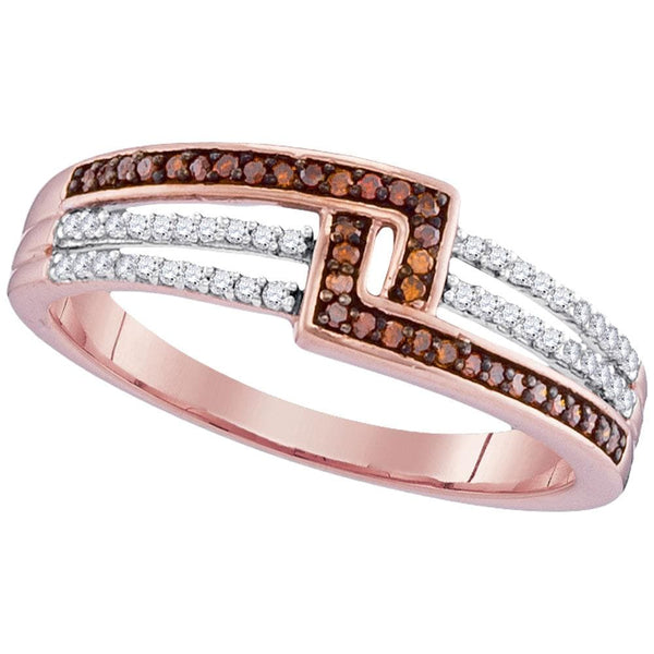 10kt Rose Gold Womens Round Red Color Enhanced Diamond Band Ring 1/5 Cttw