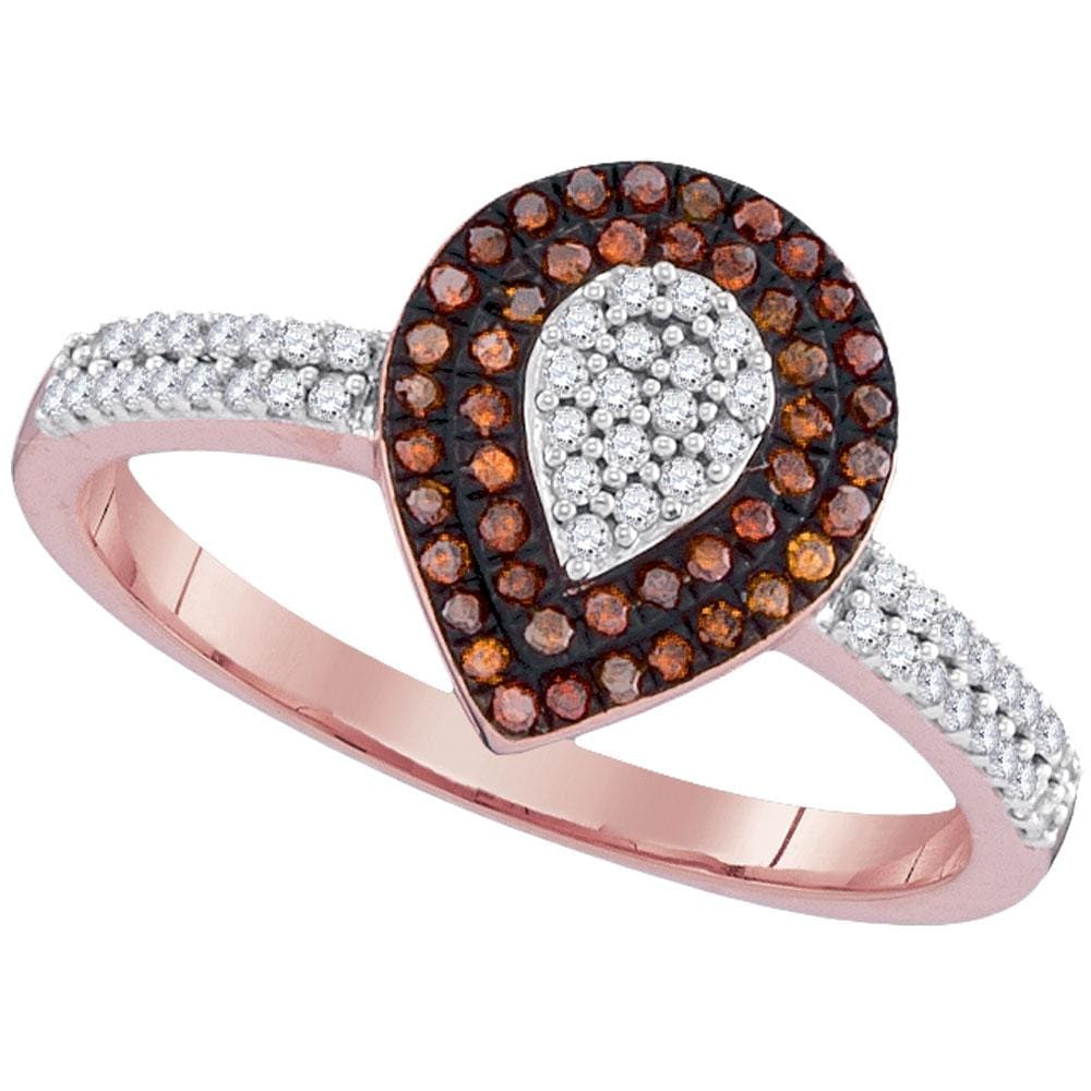 10kt Rose Gold Womens Round Red Color Enhanced Diamond Teardrop Cluster Ring 1/3 Cttw