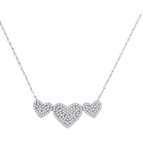 10kt White Gold Womens Round Diamond Triple Heart Cluster Pendant Necklace 3/8 Cttw