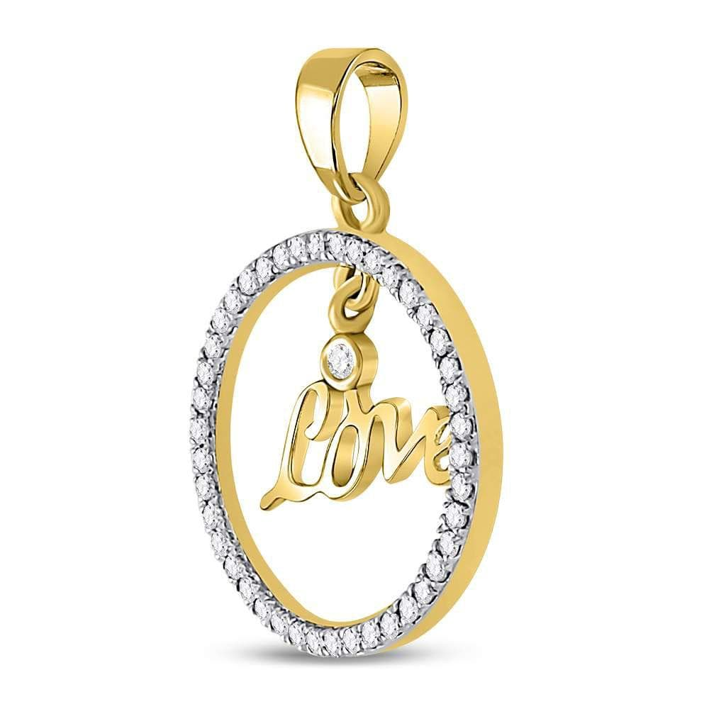 10kt Yellow Gold Womens Round Diamond Heart Love Circle Pendant 1/4 Cttw